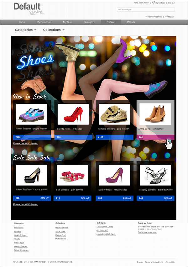 Screenshot of online shoe store